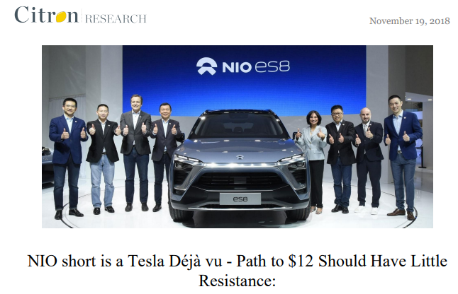 "Citron Research Calls Nio ""a Tesla Déjà vu""; Shares Jump 14% Early in Response"
