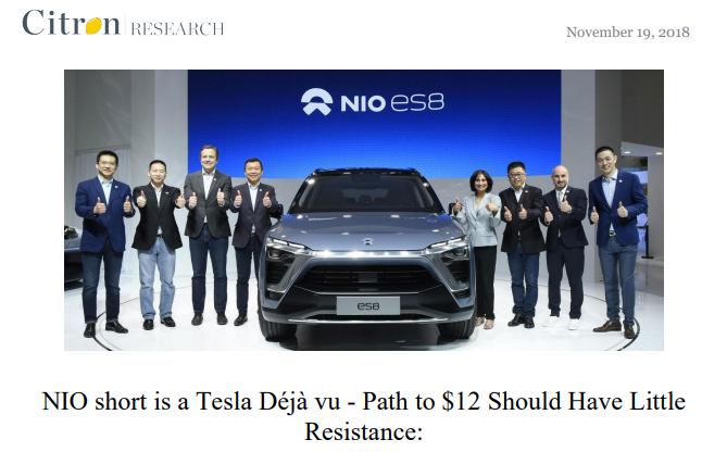 "Citron Research Calls Nio ""a Tesla Déjà vu""; Shares Jump 14% Early in Response"